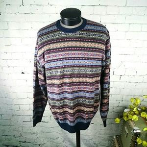 NWT Southern Pines men's sweater cotton Fair Isle